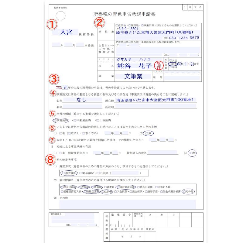 所得税の青色申告承認申請書(入力例)